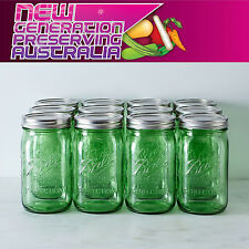 6 x Ball Mason Quart GREEN Wide Mouth and Lid BPA Free Weddings Canning