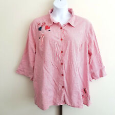 Liz & Me Womens Plus Size 4X 30 32 Gingam Seersucker Sunmer Button Front Top