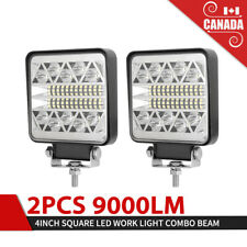 4 Inch LED Work Lights 2Pcs 9000LM LED Pods LED Spot Flood Combo Beam Light Bar