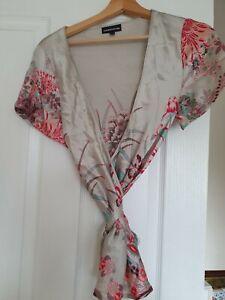 Size 12 Wrap Top blouse 100% silk Warehouse kimono