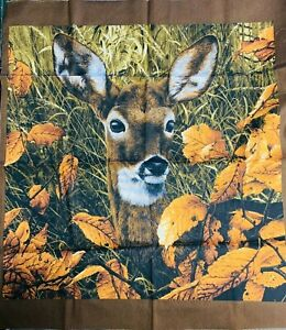 """23 1/2"""" x 21"""" - Realistic Deer Panel  - Cotton Quilting Fabric"""
