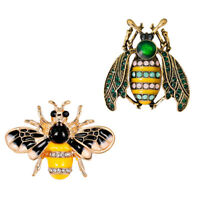 2pcs Lovely Enamel Crystal Honeybee Bug Brooch Pin Insect Lady Mens Costume