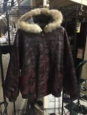 Pelle Pelle Marc Bachanan Leather Hooded With Fur Collar Jacket Size 64