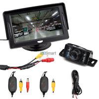 "4.3"" TFT LCD Monitor Wireless Car Parking Reverse Back Up Camera Kit  7 IR LED"