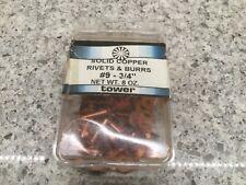 """solid copper #9  ¾"""" rivets & burrs 8oz."""
