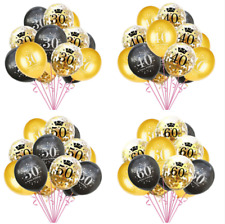 """12"""" 15 Black and Gold Happy Birthday Adult Age Number Latex Balloon Party Decor"""