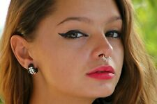 Silver Sterling Septum 92.5 Unique Clip on Fake Tribal Nose Ring For Non Pierced