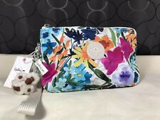 New Kipling Flower Power XL Large Creativity Pouch Floral Phone Wristlet Wallet