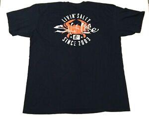 SALT LIFE Men's T Shirt Size XXL Navy Blue Short Sleeve Livin Salty Crab Logo