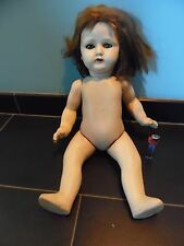 Ancienne Poupée 48 cm En Composition Yeux Dormeur Baby Doll Great Condition