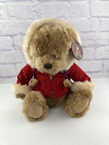 "NWT Harrods 2007 ""Benjamin"" Christmas Bear New W/Tag Red Corduroy Jacket Smiling"