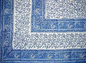 """Rajasthan Block Print Tapestry Cotton Bedspread 106"""" x 106"""" Queen Blue"""