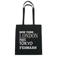 New York, London, Paris, Tokyo FEHMARN  - Jutebeutel Tasche - Farbe: schwarz