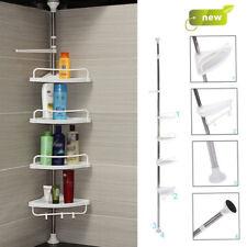 4 Tier Adjustable Telescopic Bathroom Organiser Corner Shower Shelf Unit White