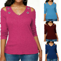 Women Long Sleeve V Neck Cold Shoulder Loose T Shirt Autumn Pullover Tops Blouse