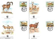 Afghanistan 1998 WWF Urial Wild Sheep Mammal Wildlife Animal Set of 4 FDC