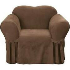 Sure Fit Soft Suede 1 Piece Chair Slipcover Box Cushion in Brown
