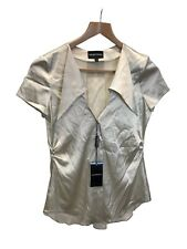 Emporio Armani Silver Silk Shirt Top Uk Size 6 (US 4), New With Tags