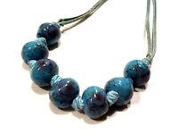 Bijou collier perles en céramique motifs floral necklace