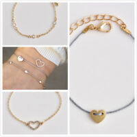 3pcs/set Multilayer Handmade Rope Chain Bracelet Set Cuff Bangle Heart Jewelry