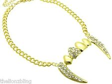Gold Chunky Chain Necklace with Vampire / Dracula Fangs Crystal Bling Pendant