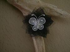 Bague noir/blanc papillon fleur mariage/mariée/soirée ( p robe) original réglabl