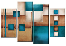 LARGE TEAL BEIGE CREAM ABSTRACT CANVAS WALL ART PICTURE MULTI 4 PANEL 100CM wide