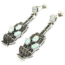 ART DECO STYLE WHITE GILSON OPAL MARCASITE BASKET EARRINGS 925 STERLING SILVER