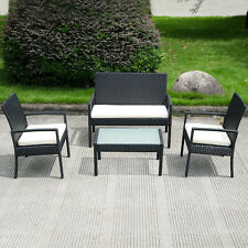 4Pcs (1 Table + 3 Chair )Outdoor Patio Furniture Set Sofa Cushioned Seat Garden