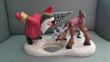 Rare Large 1999 House of Hatten Tabletop Santa Claus with Reindeer Pond D. Calla