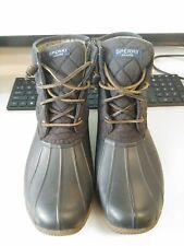 Sperry Women's Saltwater Duck Round Toe Ankle Rainboots, Black Quilted*Size 9M