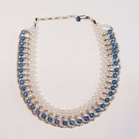 Vintage Woven Beaded Collar Necklace White Blue And Silver Tone Cleopatra Style