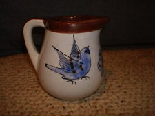 Mexican Pottery Creamer Pitcher Signed CAT  3 Tonala Mexico Blue Brown Butterfly