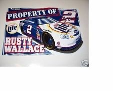 """NEVER USED MINT 1999 """"PROPERTY OF RUSTY WALLACE #2 MILLER LITE Ford NASCAR SIGN"""
