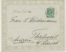 ITALIEN 1913, 5 Cmi. EF dekorativer Kab.-Firmenzierbrief von PALERMO n. THALWIL