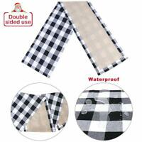 Black & White Plaid Buffalo Check Table Runner Burlap Waterproof Double sided