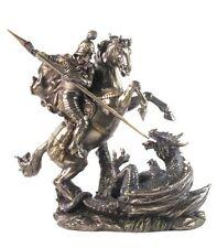 """ST. GEORGE & THE DRAGON Cold-Cast Bronze Statuette, 9.2"""" Tall, Unicorn Studio"""