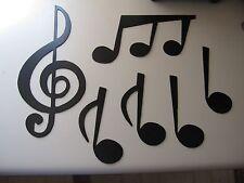 Music Notes Set Treble Clef & 5 Notes Metal Wall Art by HGWM Black