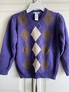English Manor Janie and Jack Deep Purple Argyle V-Neck Sweater Boy's 7