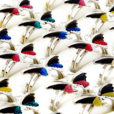 Wholesale 10pcs Lots Jewellery Change Color Butterfly Silver Plated Mood Rings
