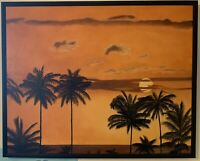 "ORIGINAL Oil Painting 1992 ""Palm Trees at Sunset"" ***FREE SHIPPING***"