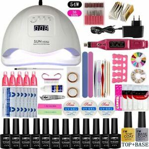 Juego de uñas UV LED Secador de lámpara con 12pcs Kit de esmalte de gel de uñas