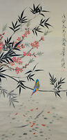 Vintage Chinese Watercolor Flower Bird Wall Hanging Scroll Painting