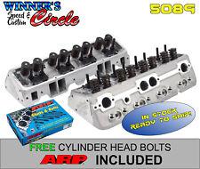 Edelbrock 5089 SB Chevy E-Street 64cc Cylinder Heads w/ FREE ARP Head Bolts