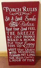 large Porch Rules sign red primitive rustic pine wood handmade