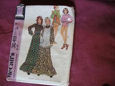 Vintage McCalls Pattern 3049 Miss Dress 1971 Sz 12 Bt 34 Boho Prairie Maxi