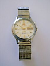 Men's Vintage Orient Crystal Automatic 21 Jewels Day & Date Watch ~ Free UK Post