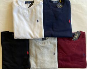 $99 NWT Mens Polo Ralph Lauren Cotton Blend Crewneck Fleece Pullover Sweatshirt