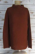 NEW BEYOND THREADS Womens Large Cinnamon Brown Alpaca Rib Funnel Neck Pullover