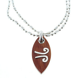 Rochet Roma Polished Wood Wind Symbol Pendant with Chain Included